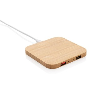 Bambusová bezdrôtová nabíjačka 5W s USB portmi
