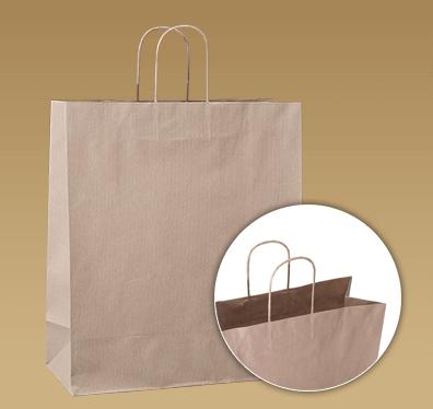 df0e5852e Vrchná časť papierovaj tašky je zahnutá, čím má spevnený vrch, lepšie  lepené krútené papierové ucho. Možnosť reklamnej potlače.