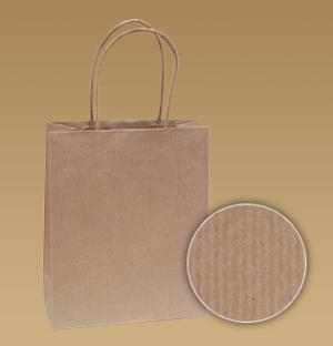 obrazok Hnedé tašky s krúteným uchom z prúžkovaného papiera - Reklamnepredmety