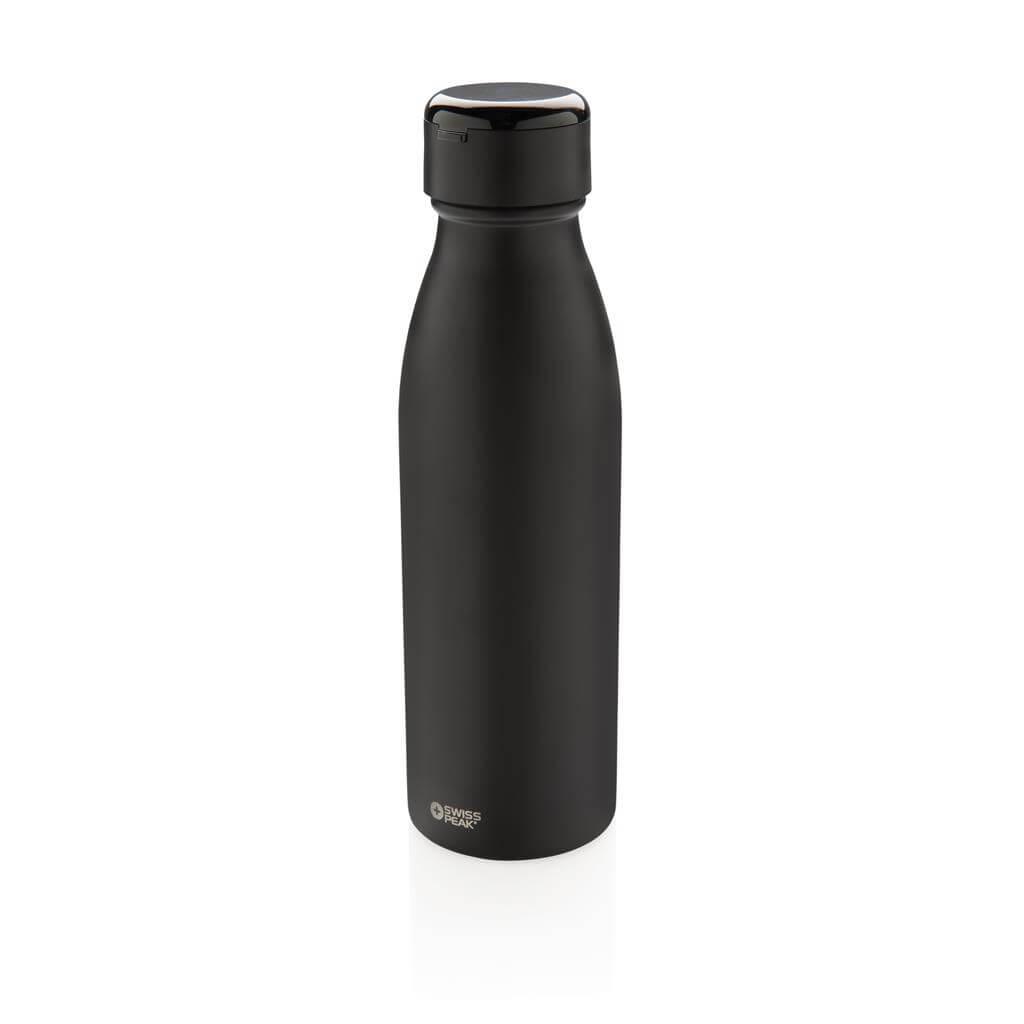 Swiss Peak termo fľaša s naozaj bezdrôtovými slúchadlami