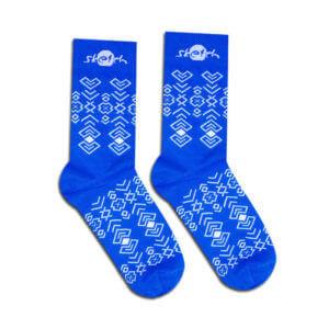 Ponožky modré s ľudovým vzorom