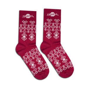 obrazok Ponožky bordové s ľudovým vzorom - Reklamnepredmety
