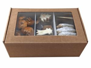 obrazok Maslové čajové pečivo + perníky, pomer 1:1,kartónová krabička kraft - Reklamnepredmety