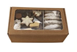 Rodinné balenie -  maslového čajového pečiva, maslový perník,  grilážové rezy, kartónová krabička kraft