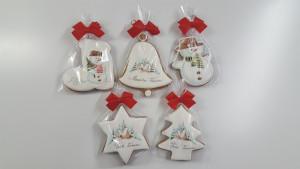 obrazok Plnofarebne maľovaný domáci perník: zvonček, hviezda, stromček, snehuliak, podkova, balený v celofáne - Reklamnepredmety