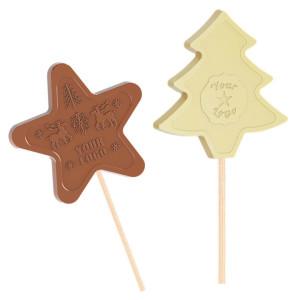 Čokoládové lízatko  hviezdička, stromček – vianočné motívy