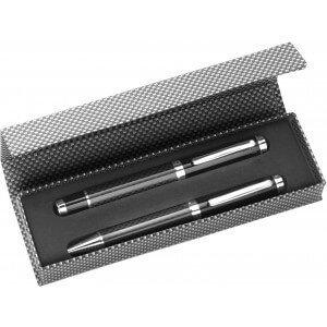 Klasická súprava pier zložená z kovového guľôčkového pera a kolieska,