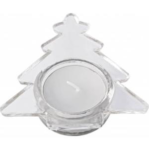 Sklenený svietnik v tvare vianočného stromčeka s bielou sviečkou