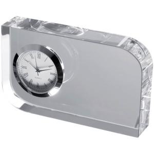 Elegantná sklenená dekorácia s malými hodinami